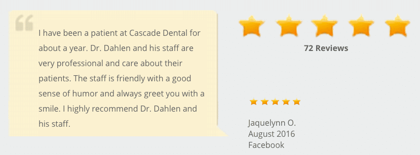Padden Dental has over 70 top reviews on Google+